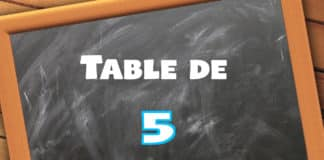 table de multiplication de 5