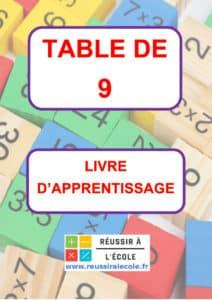 TABLE DE 9 MULTIPLICATION