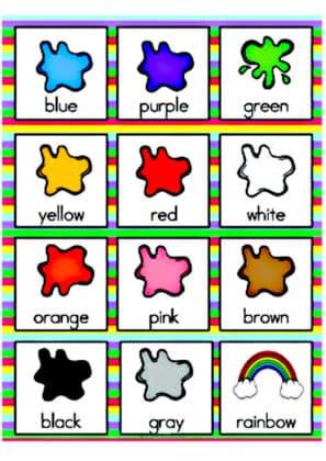 reconnaitre les couleurs en anglais