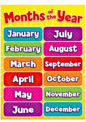 apprendre les mois de l'année en anglais