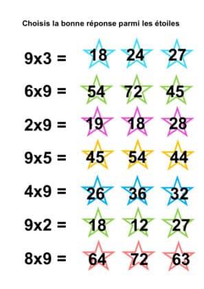 table de multiplication de 9