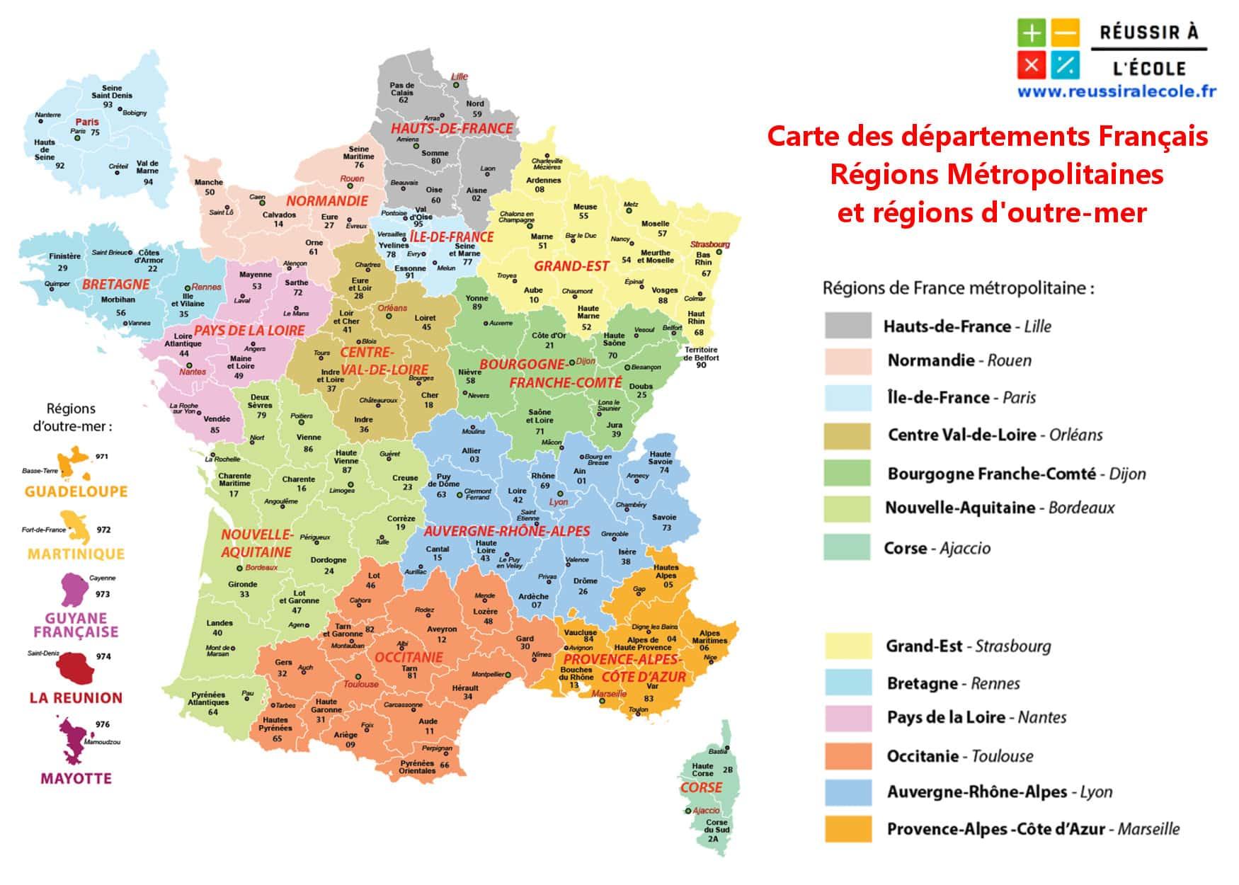 carte départements de france à imprimer