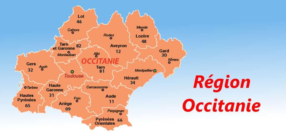 carte des departements en Occitanie