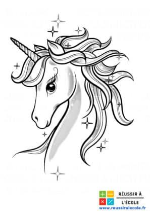 dessin licorne à colorier
