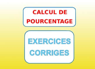 Exercice calcul de pourcentage