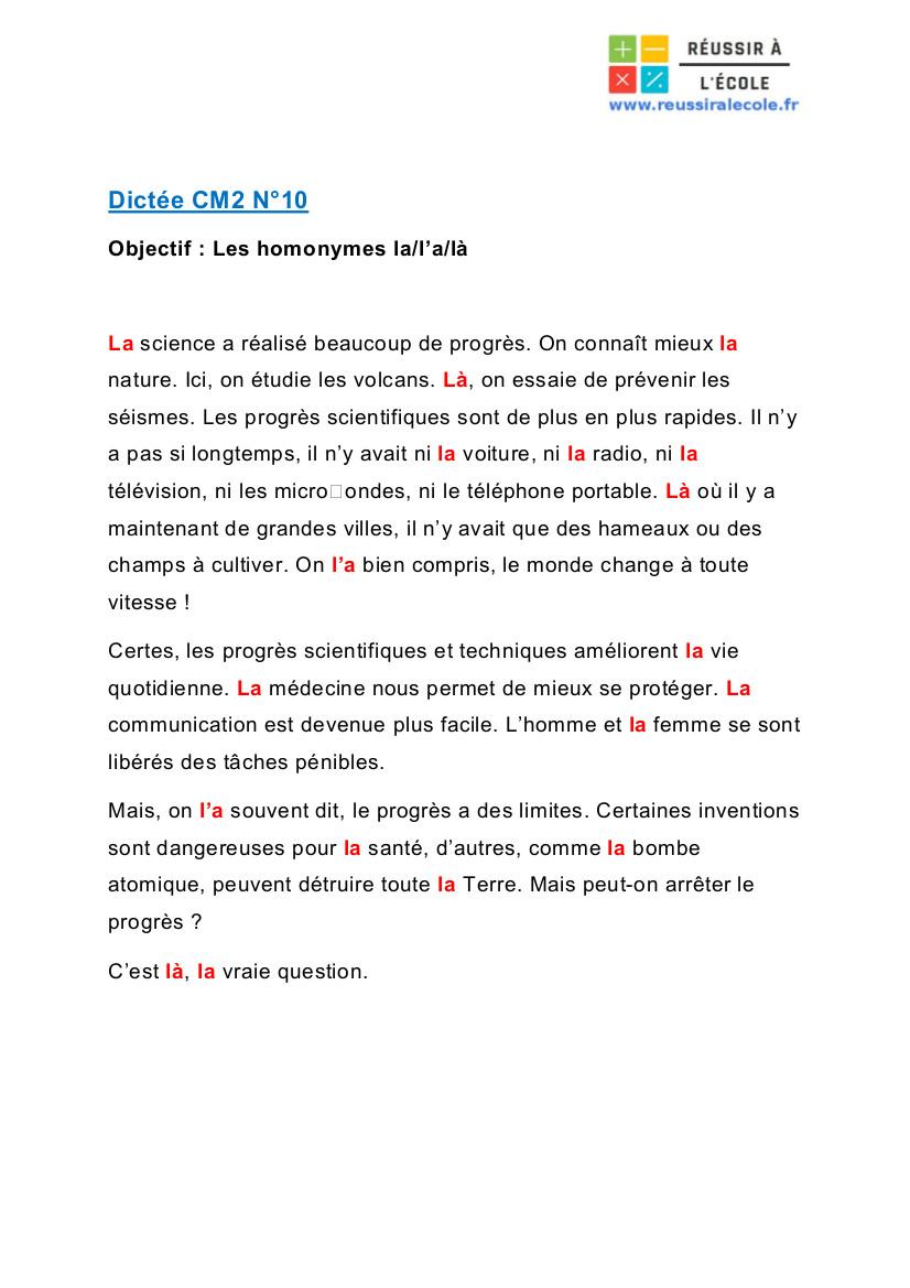 dictée cm2 pdf