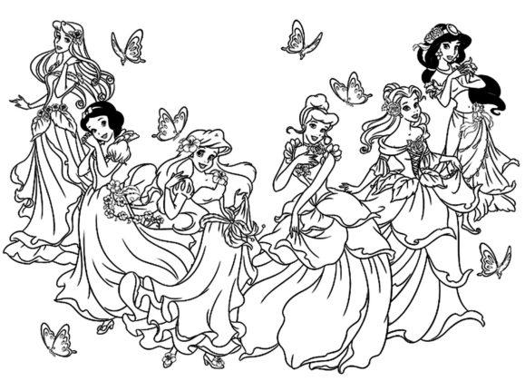 coloriage toutes les princesses