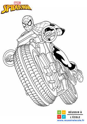 coloriage spiderman moto