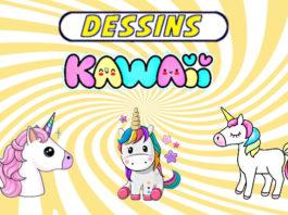 dessin kawaii licorne