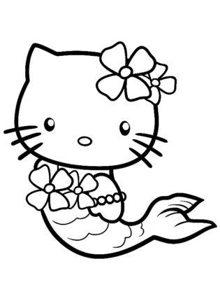 coloriage hello kitty sirène